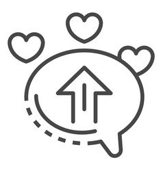 upload chat heart icon outline style vector image