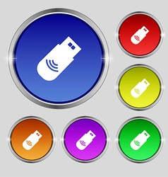 Usb Icon sign Round symbol on bright colourful vector