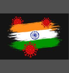 Vintage flag india with coronavirus vector
