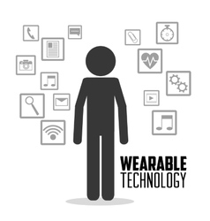 Wearable technology person media icons vector