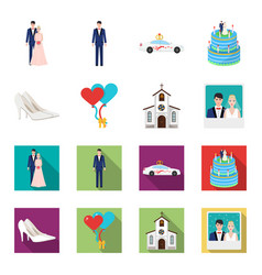 wedding and attributes cartoonflat icons in set vector image