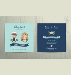 Wedding invitation card beach theme cartoon couple vector image