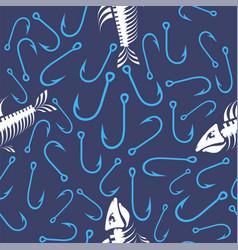 white fish bone skeleton and fishing hooks vector image