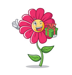 With gift pink flower character cartoon vector