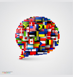 World flags in form of speech bubble vector