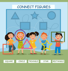 young children studying icons and figures vector image
