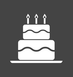birthday cake flat icon fresh pie muffin on black vector image