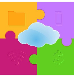 Cloud computing promo puzzle background vector image vector image