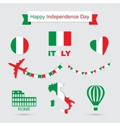 Italy flag banner and icon patterns set vector image vector image