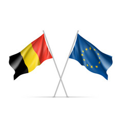 belgium and european union waving flags vector image vector image