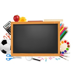 black desk with school supplie vector image vector image