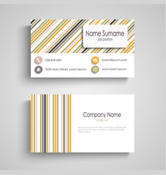 business card with colorful retro stripes template vector image vector image