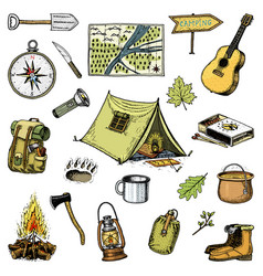 camping trip outdoor adventure hiking set of vector image vector image