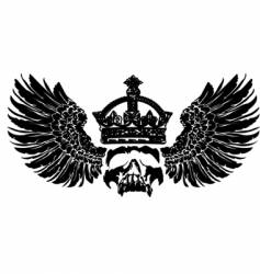 crowned skull on wings vector image vector image