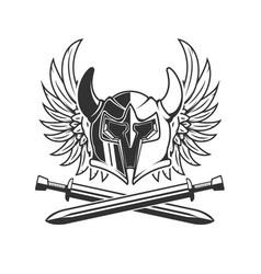 Horned helmet with crossed swords and wings vector