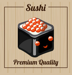 japanese roll with rice nori leaf and red caviar vector image