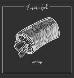 korean cuisine kimpap roll chalk sketch icon for vector image