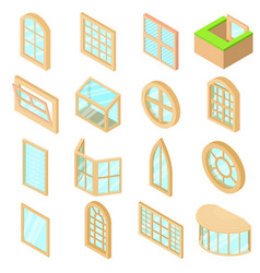 window forms icons set isometric style vector image vector image