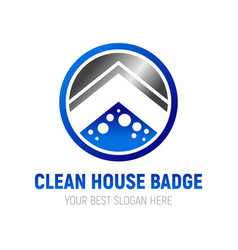 clean house badge symbol design vector image vector image
