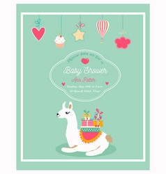 invitation for baby shower with funny lama vector image