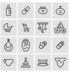 line baby icon set vector image