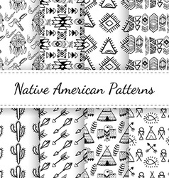 Native american seamless patterns set vector