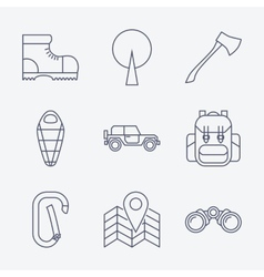 Outline stroke Camping icons vector image