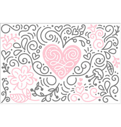 scandinavian folk heart with flowers and vector image