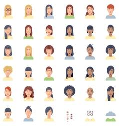women faces flat icon set vector image