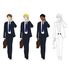 Business Man Talking Phone Holding Brief Case vector image vector image
