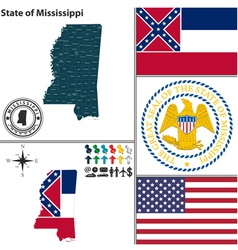 Map of mississippi with seal vector