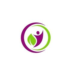 people eco leaf botany vegetarian logo vector image vector image