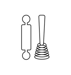 roller and whisk line icon sign vector image vector image