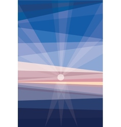 Sunrise on shore Geometric abstract vector image