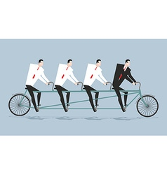 Tandem managers Businessmen riding bicycle vector image vector image