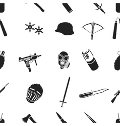 Weapon pattern icons in black style Big vector image