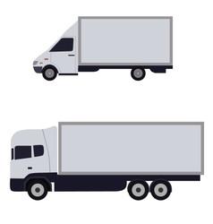 white trucks sideways vector image
