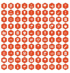 100 lamp icons hexagon orange vector