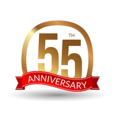 55 years anniversary experience gold label with vector