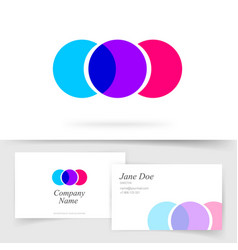 Abstract colorful circles logotype three element vector