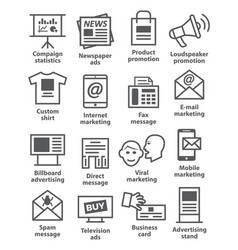 Advertising and media icons vector