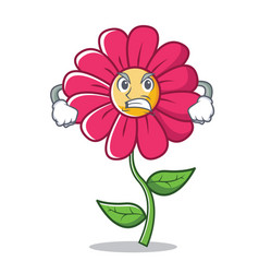 Angry pink flower character cartoon vector