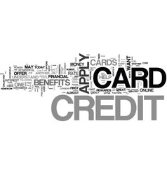 apply for a credit card the proper way text word vector image