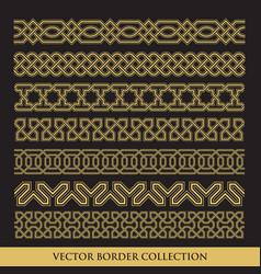 Arabic seamless geometric golden border vector