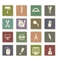 Art tools icon set vector