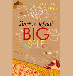 Back to school sale modern background with autumn vector