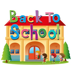 Back to school theme with kids going to school vector