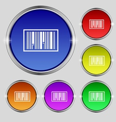 Barcode Icon sign Round symbol on bright colourful vector image