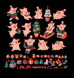 big set of pigs and christmas toys vector image