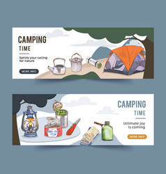 Camping banner design with lantern tent pot vector